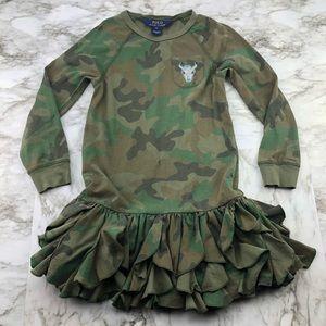 Polo Ralph Lauren Camo Ruffle Tunic Dress Girls 6